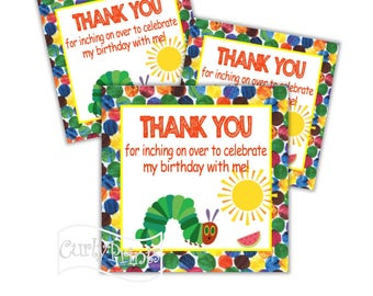 The Very Hungry Caterpillar Birthday Party Thank You Tags DIY Printable File