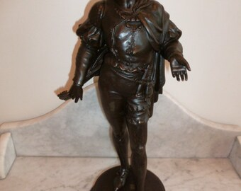 Antique French medieval musician spelter statue sculpture circa 1890