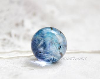 Pendant resin dandelion Тerrarium necklace Dandelion necklace Terrarium jewelry Jewelry resin  dandelion Ball resin pendant Оrb jewelry
