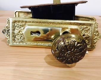 Antique Brass Doorknob Set Vintage Doorplates Door Hardware Set