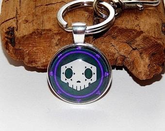 Overwatch sombra logo pendant necklace keychain, Virus skin skull logo, Men's jewelry, video game sombra overwatch, Overwatch Fan Art simbol