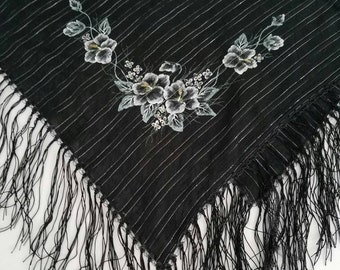 Black Floral scarf, Hand Painted Black Square Shawl, Wearable art, Unique Shawl, One of Kind Gift for Wife, Boho Scarf Birthday Gift 100