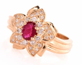Estate Diamond Ruby 14k Coktale Ring.