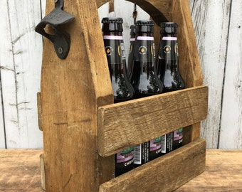 Rustic Six Pack Carrier with Opener