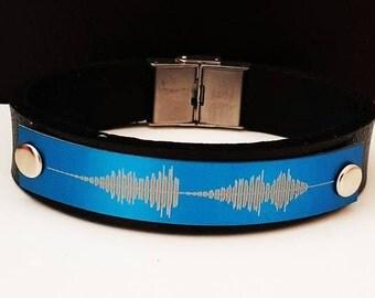 Personalized, handmade leather soundwave bracelet