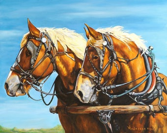 Draft Horse Team Canvas Print