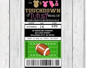 Gender Reveal Touchdown or Tutu Football ticket invitation- ***Digital File**(Baby-footballticketGold)