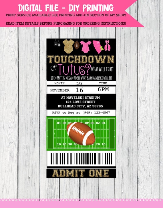 Gender Reveal Touchdown or Tutu Football ticket invitation