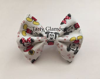 Mickey and Minnie Mouse Hair Bow, Disney Hair Bow, Fabric Hair Bow, Disney World, Mickey Mouse, Minnie Mouse, Adult Hair Bow, Girls Hair Bow