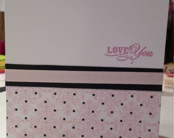 I Love You Pink Black polkadots Valentines day Anniversay Birthday Wedding Just Because