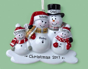 4 Expecting Family Personalized Ornament - Expecting a Baby - Family of Four - We're Expecting! - Christmas Ornament