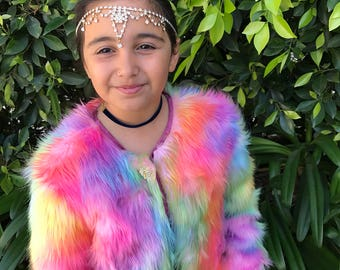 Girls unicorn fur coat Rainbow festival fur unicorn jacket coat faux fur lined coat stole fur shrug bolero jacket rainbow lined in printed s