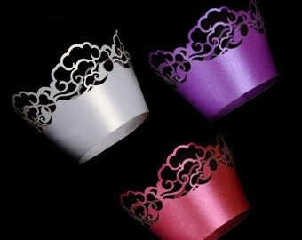 180 pcs - Cloud Filigree Cupcake Wrappers / Laser-Cut Lace Cupcake Liner - DIY Wedding, Birthday, Shower Party, Cake Decoration