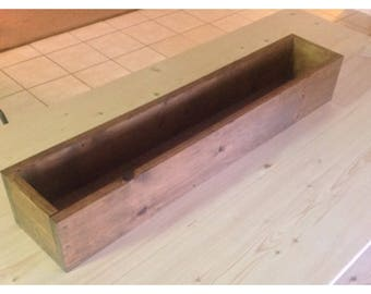 26 Inches Long Vintage Table Trough Of Reclaimed Wood