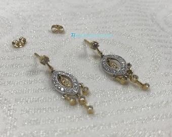 a329 Beautiful 14k White Gold Diamond Pierced Chandelier Earrings + Free Gift
