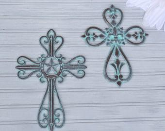 Western Cross. Fleur-De-Lis Cross. Wall Cross. Crucifix. Farmhouse Decor. Religious Decor. Farmhouse. Victorian Decor. Western. Fleur-De-Lis