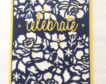 Celebrate Card - Wedding, birthday, happy occasion card - Graduation card - Handmade stamped navy lace card