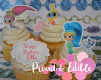 24 Shimmer and shine cupcake topper, edible & precut, stand up, birthday topper, shimmer and shine cake,  edible cupcake topper