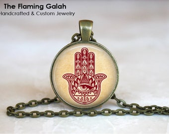 HAMSA HAND Pendant • Hand of Fatima • Henna Hamsa Hand • All Seeing Eye • Gift Under 20 • Made in Australia (P0954)
