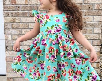 Teal floral spring dress