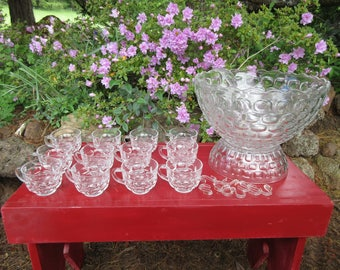 Vintage 1950's Jubilee Federal Glass Punch Bowl Set in the Box One Owner Excellent Condition