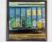 Train art coaster: Halloween Entourage - Train Graffiti. Individually photographed and hand made by Frank Heflin