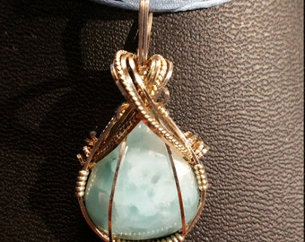 Larimar 17 ct. pendant necklace in 14K gold filled wire