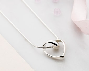 Floating heart necklace- open heart pendant - twisted heart necklace - anniversary gift - open heart necklace - gift for girlfriend - love