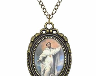 St Pedro Armengol Catholic Necklace Bronze Medal w Chain Oval Pendant Saint Vintage