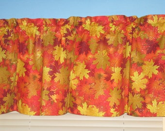 Orange Brown Yellow Fall leaves with Glitter Shimmer Window Curtain Valance