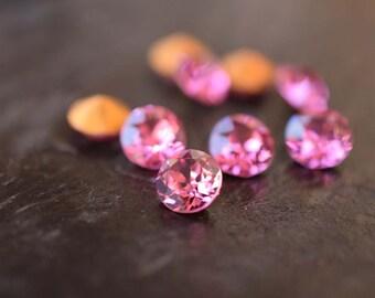 Vintage 35SS Swarovski Dentelles Rose Pink Crystal Chatons,12pcs
