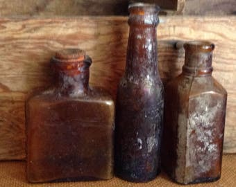Vintage Brown Glass Bottle Collection 3