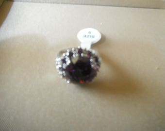 New Ring Jewelry  Round Cut Amethyst & White Topaz Gemstone Silver Ring US Size 9