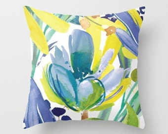 Flower Throw Pillow  Cover - Blue Green Yellow Cushion Cover - Watercolor flower pillow cover - Modern Home Decor - By Aldari Home