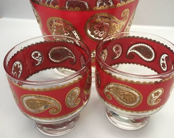 Culver Glassware, Mid Century Modern, Red Paisley Ice Bucket and Glasses Set, 22k gold