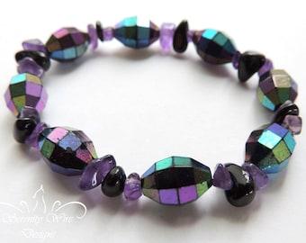 Amethyst Quartz Rhodonite Black Tourmaline Bracelet