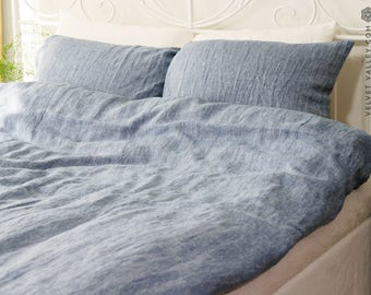 Linen blue melange SET of DUVET cover and PILLOW shams -linen blue  bed set - light blue full/double /queen/king size linen bed set
