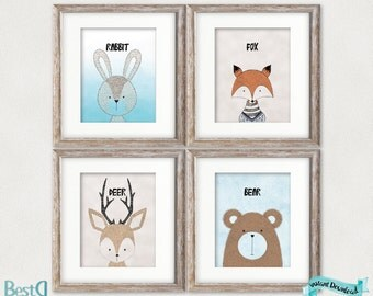 Set of 4 animals prints,nursery animals printable,animals nursery,baby room decor,rabbit print,bear print,fox print,deer print,boy nursery