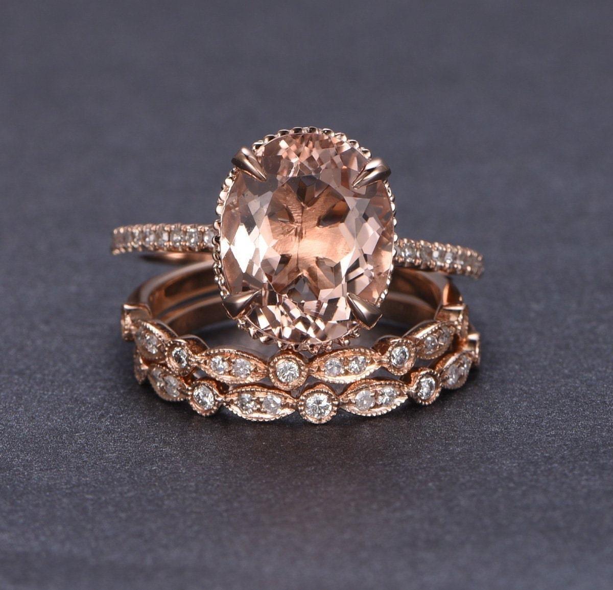 Limited Time Sale 2 carat Morganite and Diamond Trio Ring Set