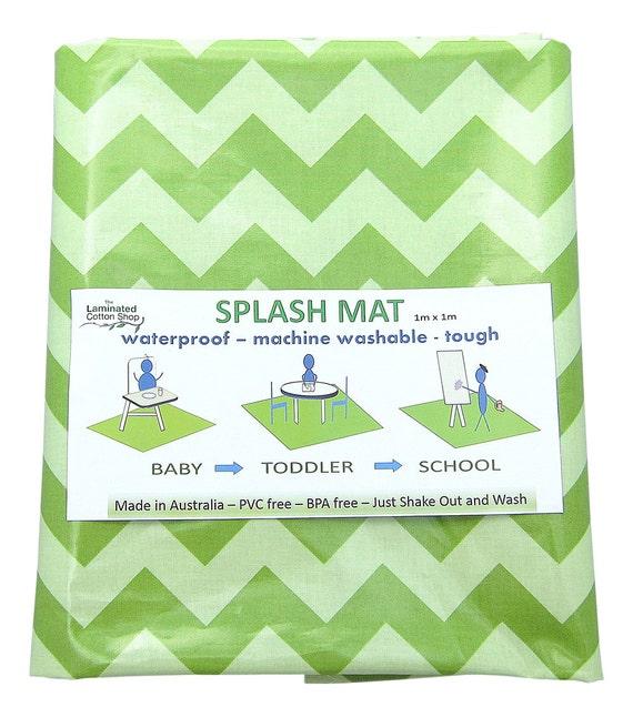 Mint Green Chevron Highchair Mat Waterproof Splash Mat