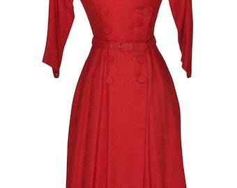Vintage Estate Red Dress with Pockets