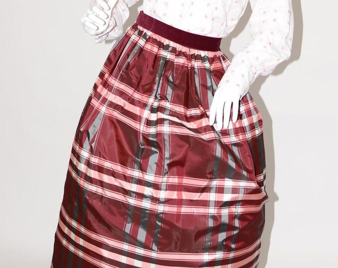 Vintage Estate Burgundy Grey White Ball Skirt Made in USA