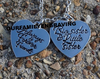 ON SALE Always and forever friends big sister and little sister necklace pendant