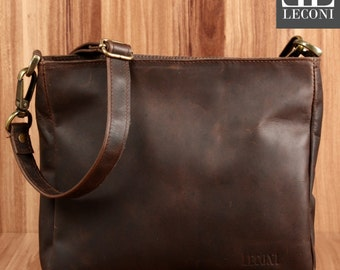 LECONI shoulder bag shoulder bag leisure bag ladies mens leather dark brown LE3058-wax