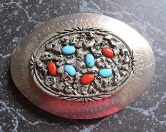 Turquoise and Coral Western Style Belt Buckle