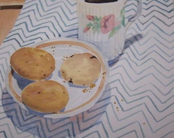 "Still Life Painting, ""Coffee & Biscuits"""