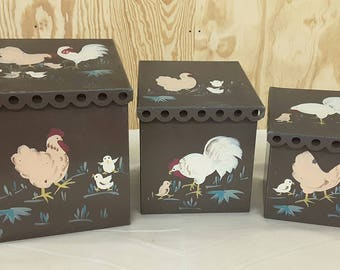 Vintage Nesting Canisters with Handpainted Chickens