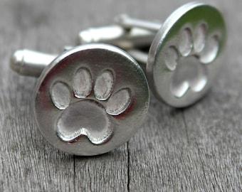 Silver paw print cufflinks, dog paw cufflinks, cat paw cufflinks, pet lover cufflinks, silver cufflinks, pet cufflinks, handmade cufflinks