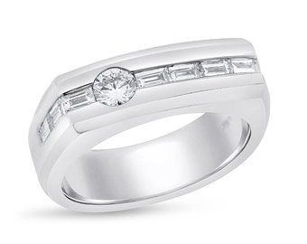 0.87 Ct. Natural Diamond Rounds Baguettes Men's Band Ring in Solid 18k White Gold