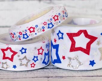 "Patriotic Stars! Red/White/Silver/Blue - 4th of July - 3/8"", 7/8"", 1.5"" - U.S. DESIGNER - High Quality Grosgrain Ribbon - 5yd Roll"